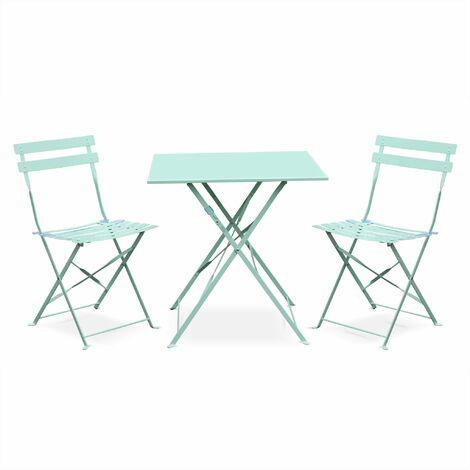 Salon de jardin bistrot pliable Emilia carré vert d\'eau, avec deux ...