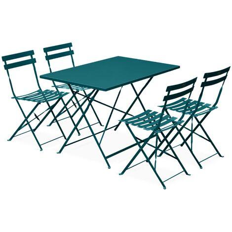 Salon de jardin bistrot pliable Emilia rectangulaire bleu canard ...
