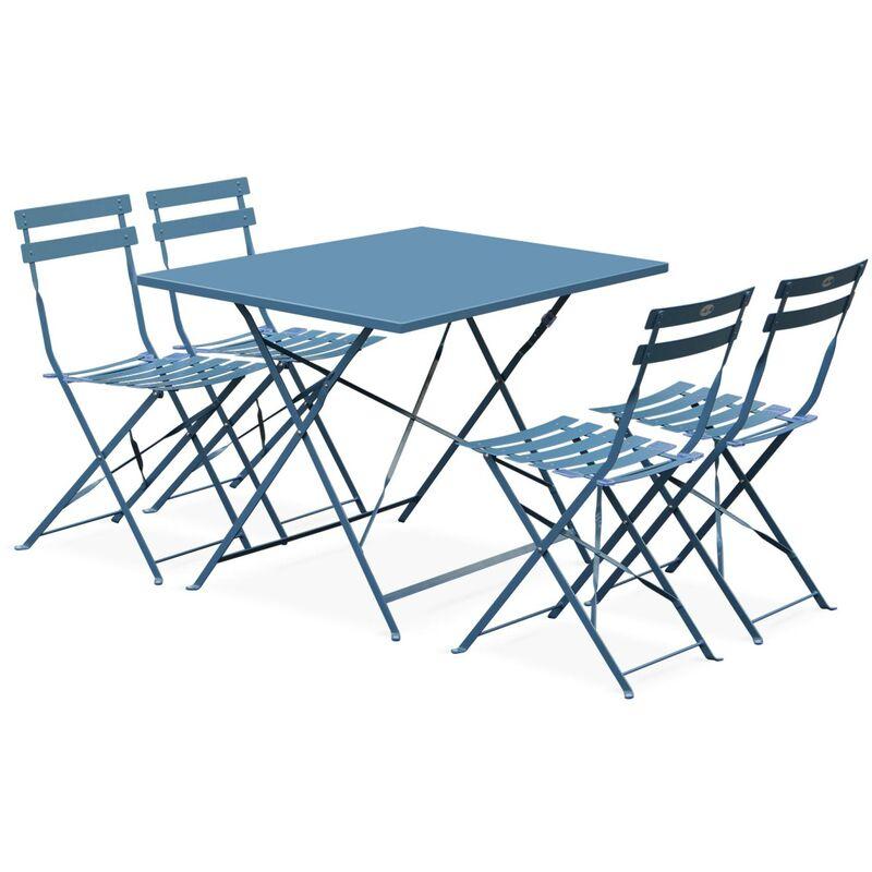 Salon de jardin bistrot pliable Emilia rectangulaire bleu grisé avec quatre  chaises pliantes, acier thermolaqué