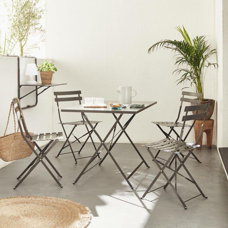 Salon de jardin bistrot pliable Emilia rectangulaire gris anthracite avec  quatre chaises pliantes, acier thermolaqué