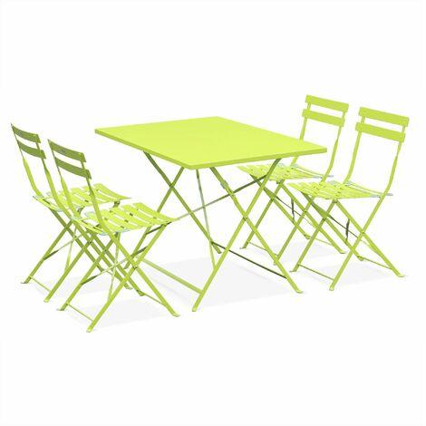 Salon de jardin bistrot pliable Emilia rectangulaire vert ...