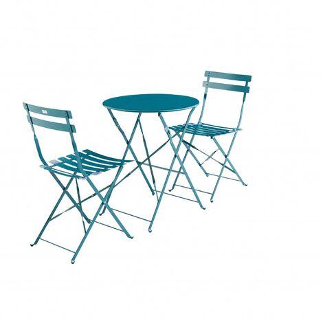 Salon jardin pliable Emilia de canard rond bleu bistrot yvNmnP8wO0