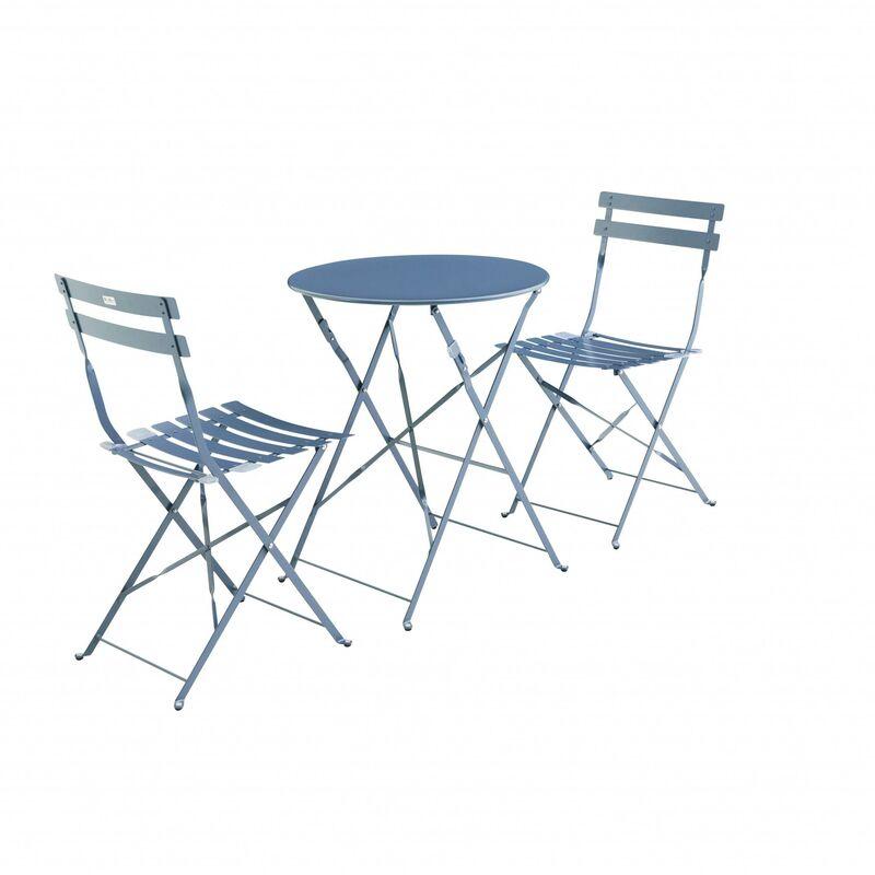Salon de jardin bistrot pliable Emilia rond bleu grisé, table ⌀60cm ...