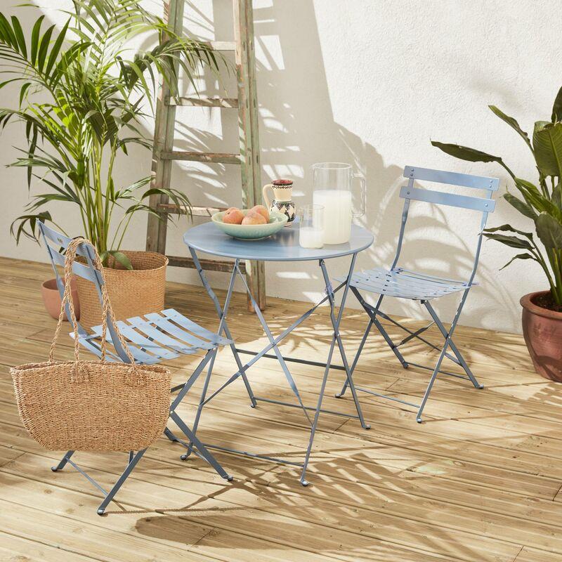 Deux De ⌀60cm Chaises GriséTable Emilia Rond Thermolaqué Avec PliantesAcier Salon Pliable Bleu Jardin Bistrot XuOTZPki
