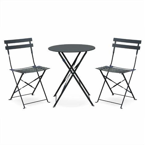 Salon de jardin bistrot pliable Emilia rond gris anthracite, table ⌀60cm avec deux chaises pliantes, acier thermolaqué