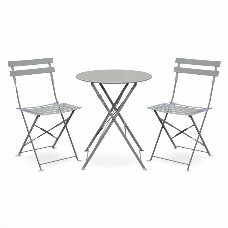 Salon de jardin bistrot pliable Emilia rond gris taupe, table ⌀60cm avec  deux chaises pliantes, acier thermolaqué