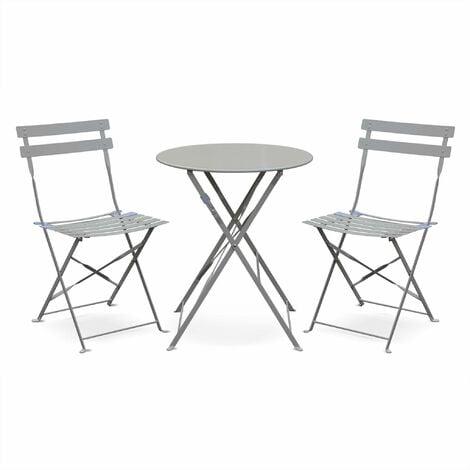Salon de jardin bistrot pliable Emilia rond gris taupe, table ⌀60cm ...