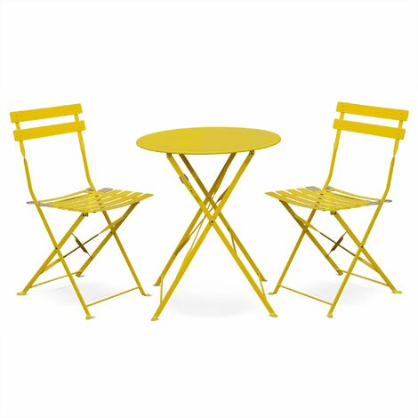 Salon de jardin bistrot pliable Emilia rond jaune, table ...