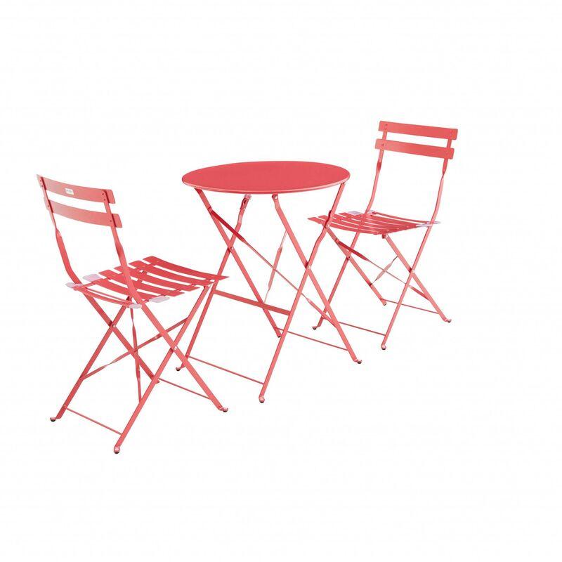 Salon de jardin bistrot pliable Emilia rond rouge framboise, table ⌀60cm  avec 2 chaises pliantes, acier thermolaqué