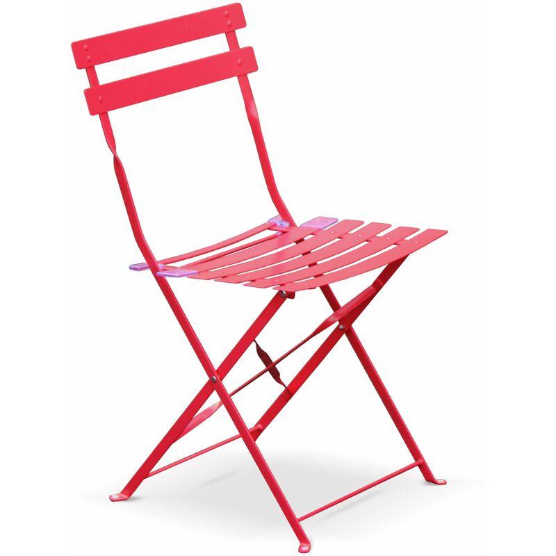 Salon de jardin bistrot pliable Emilia rond rouge framboise, table ...