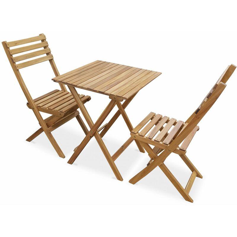Salon de jardin bistrot pliable - Figueres carré en bois - Table carrée 60x60cm avec deux chaises pliantes