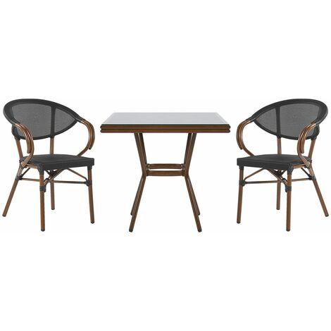 Salon de jardin bistrot table et 2 chaises noir / effet bois foncé CASPRI