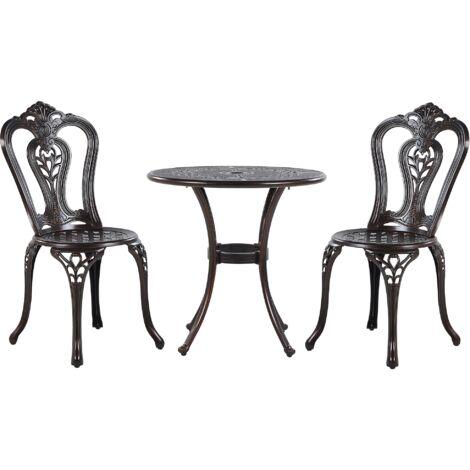 Salon de jardin bistrot table et chaises en aluminium marron foncé BOVINO