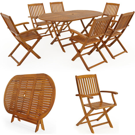 Salon de jardin Boston Ensemble 1 Table et 6 Chaises Bois d\'acacia ...