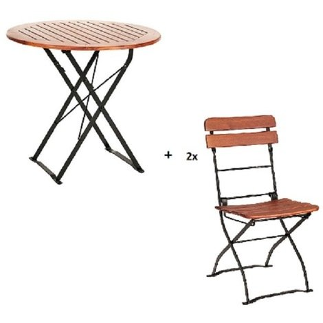 Salon de jardin CAFE en acacia table ronde pliable + 2 chaises pliables