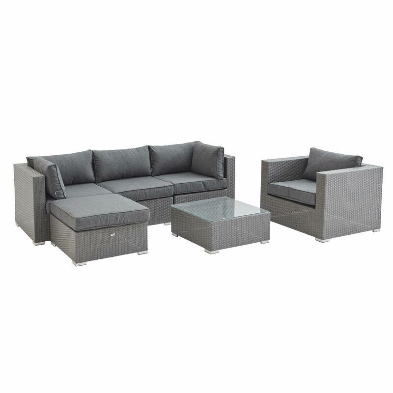 salon de jardin caligari en r sine tress e 5 places gris. Black Bedroom Furniture Sets. Home Design Ideas