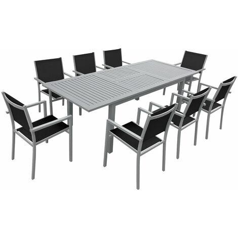 """main image of """"Salon de jardin CAPRI extensible en textilène noir 8 places - aluminium gris - Noir"""""""
