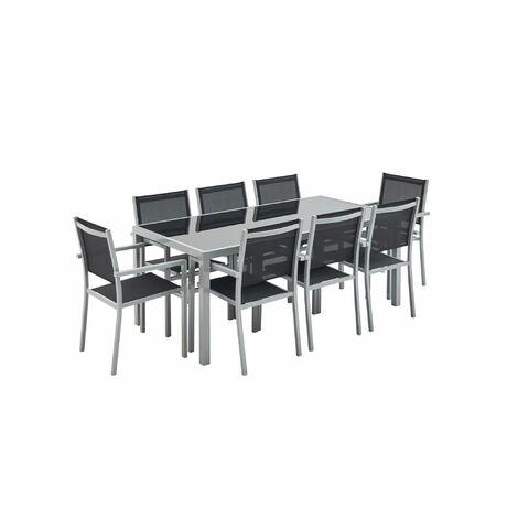 Salon de jardin Capua en aluminium table 180cm, 8 fauteuils en textylène noir et alu gris