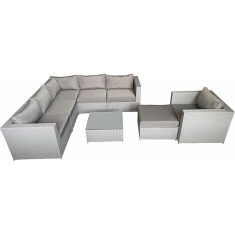 Salon de jardin CARGÈSE en résine tressée gris 7 places - coussins gris - Gris