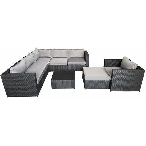 Salon de jardin CARGÈSE en résine tressée noir 7 places - coussins gris - Noir