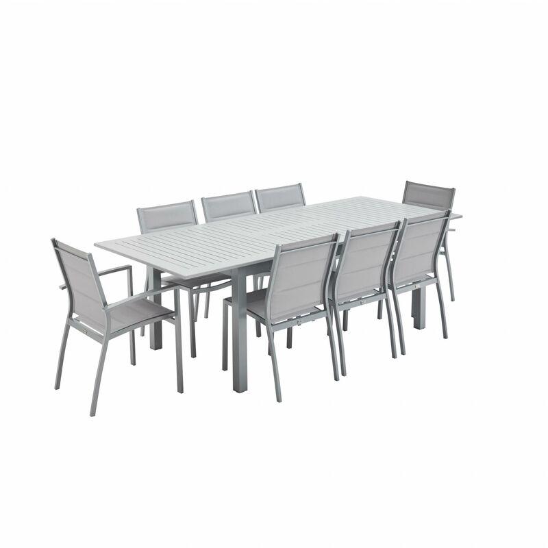 Salon de jardin Chicago 8 places table à rallonge extensible 175/245cm alu  gris textilène gris clair