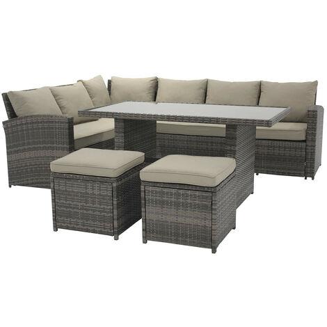 Salon de Jardin Chillvert Cerdeña 1 Canapé d'Angle+ 1 Table+ 2 Tabourets Rotin et Aluminium
