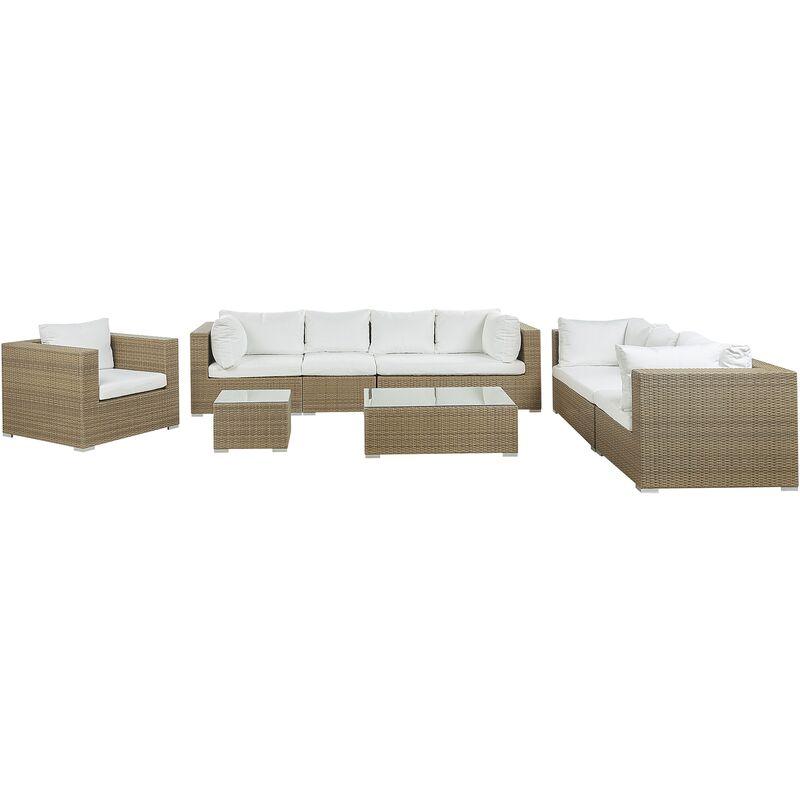 Beliani - Salon de jardin 8 places en rotin marron clair avec coussins blancs cassés MAESTRO II