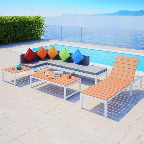 Salon de jardin complet en aluminium et bois blanc/marron et ...