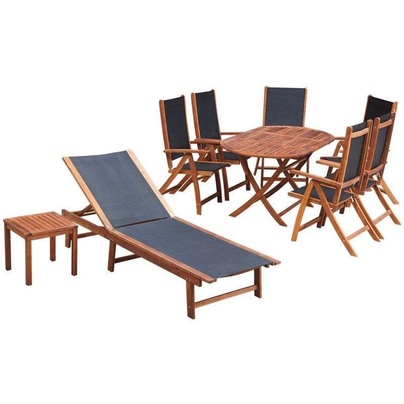 Salon de jardin complet en bois d\'Acacia massif et tissu noir - MJ42649