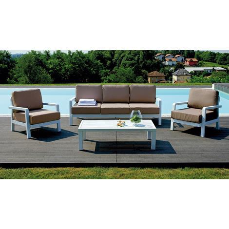 Salon de jardin composé de 2 fauteuils + 1 canapé 3 places + 1 table ...