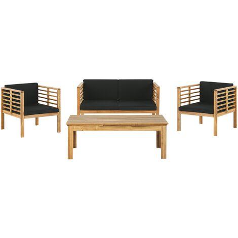 Salon de jardin confortable et chaleureux en bois d'acacia