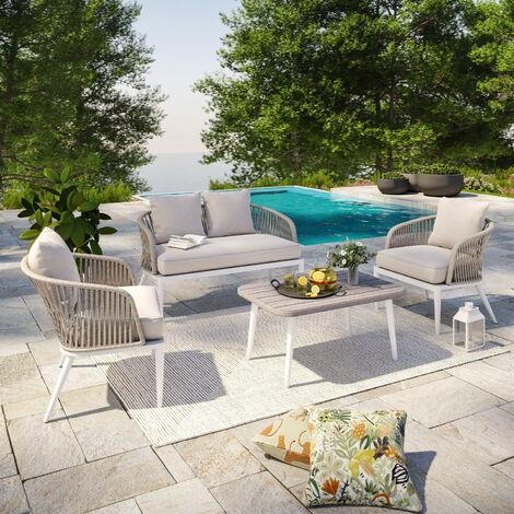 """main image of """"Salon de jardin cordes et aluminium - Blanc gris - intérieur/extérieur - CARMEN - Gris"""""""