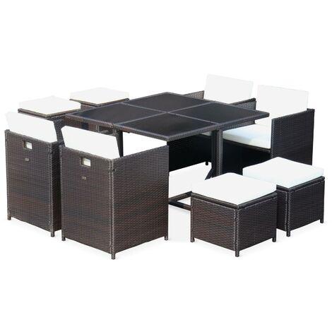 Salon de jardin Cubo chocolat table en résine tressée 4 à 8 places ...
