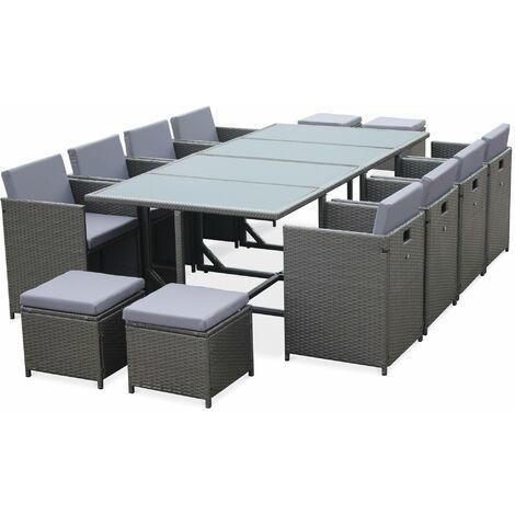 Salon de jardin Cubo Gris table en résine tressée 8 à 12 places ...