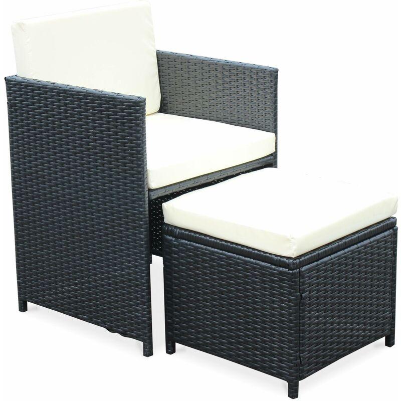 Salon de jardin Cubo noir table en résine tressée 4 à 8 places, fauteuils  encastrables