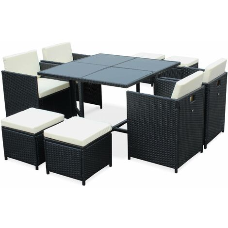 Salon de jardin cubo noir table en r sine tress e 4 8 - Salon de jardin resine tressee 8 places encastrables ...