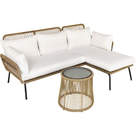 Salon de jardin d'angle 4 pers. style colonial table basse coussins grand confort inclus résine tressée beige