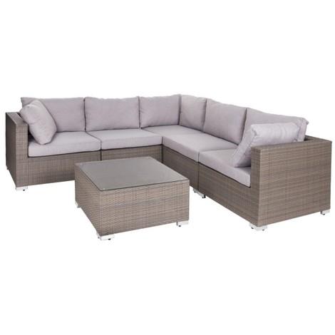 Salon de jardin d\'angle amovible 5 places + table basse en ...