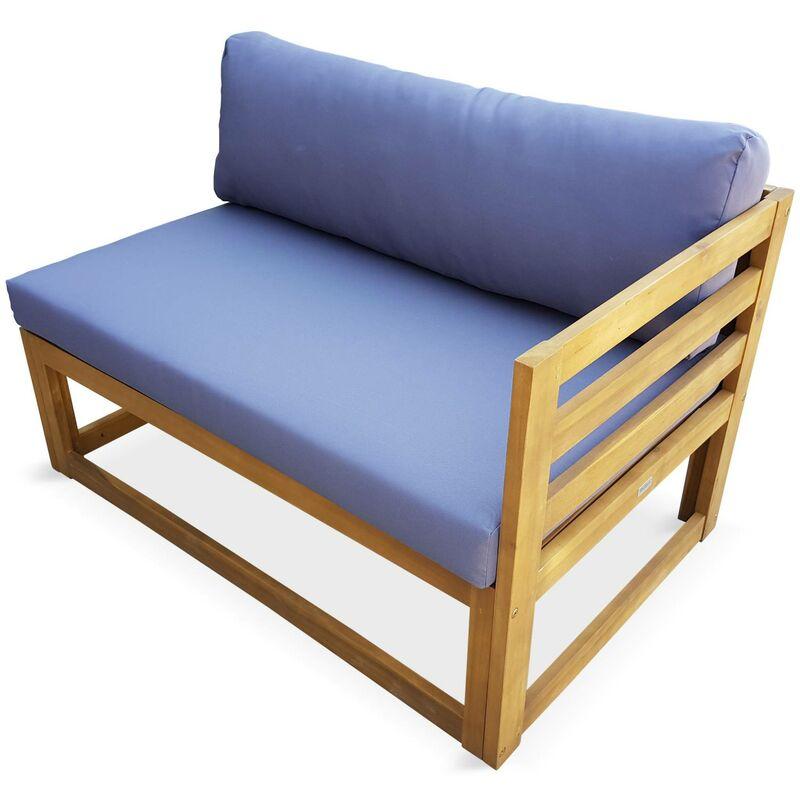 Salon de jardin d\'angle en bois 5 places – Rafaela – Coussins gris, canapé  d\'angle et repose-pieds en acacia
