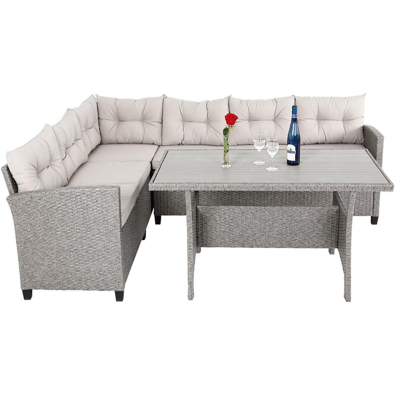 Salon de Jardin d\'angle Lounge en Polyrotin - Canapé d\'angle et Table Haute  - 6 Places assises - Couleur Gris/Beige