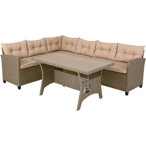 Salon de Jardin d'angle Lounge en Polyrotin - Canapé d'angle et Table haute - 6 Places assises - Coussins épais de 7cm - Couleur Gris/beige - Design moderne - Aspect naturel
