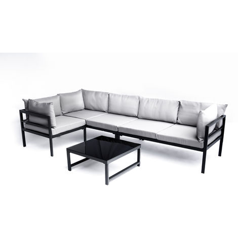 Salon de jardin d\'angle modulable Coloris gris en aluminium / polyester  -PEGANE-