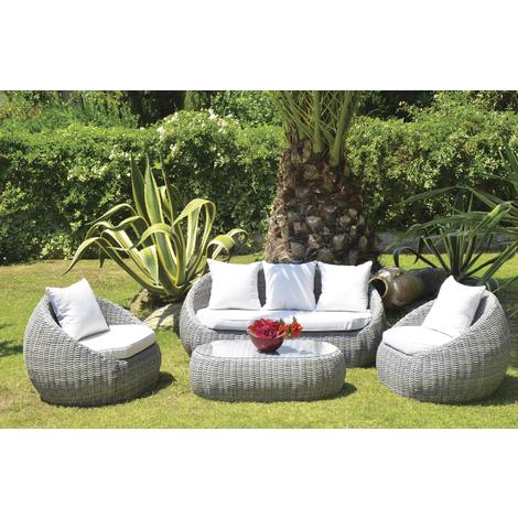 Salon de jardin de 4 pièces / 5 places en aluminium résine tressé coloris  gris clair
