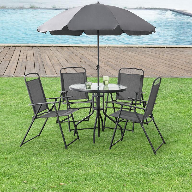 Salon de Jardin de 4 Places avec Parasol Meubles Extérieurs Solides Résistants aux Intempéries Protection UV SPF 30 Aluminium PVC Polyester Verre