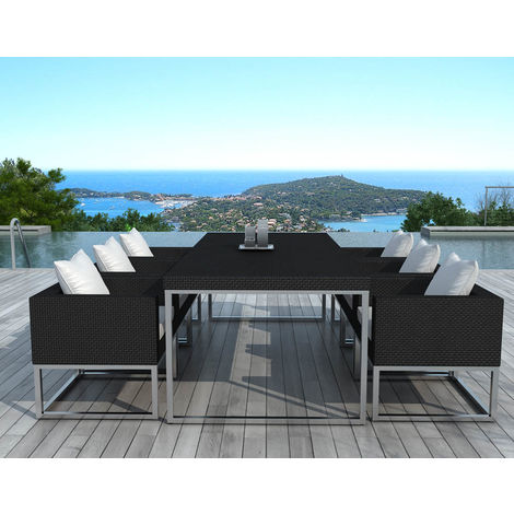 Salon de jardin design 1 table + 6 fauteuils - SD1004-BLACK-WHITE