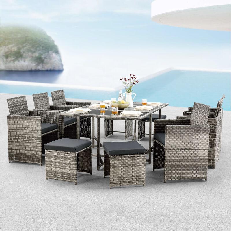 [en.casa] - Salon de Jardin Design 10 Places Ensemble Table 6 Fauteuils 4 Tabourets Set de Meubles Extérieurs Acier Polyrotin Polyester Gris Chiné