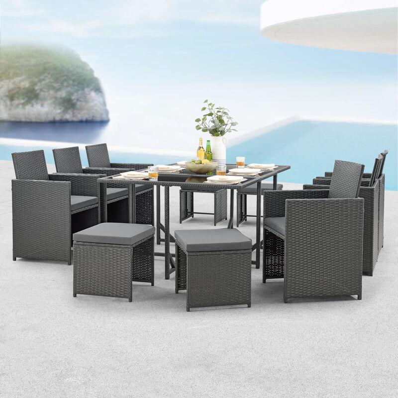 [en.casa] - Salon de Jardin Design 10 Places Ensemble Table 6 Fauteuils 4 Tabourets Set de Meubles Extérieurs Acier Polyrotin Polyester Gris Foncé