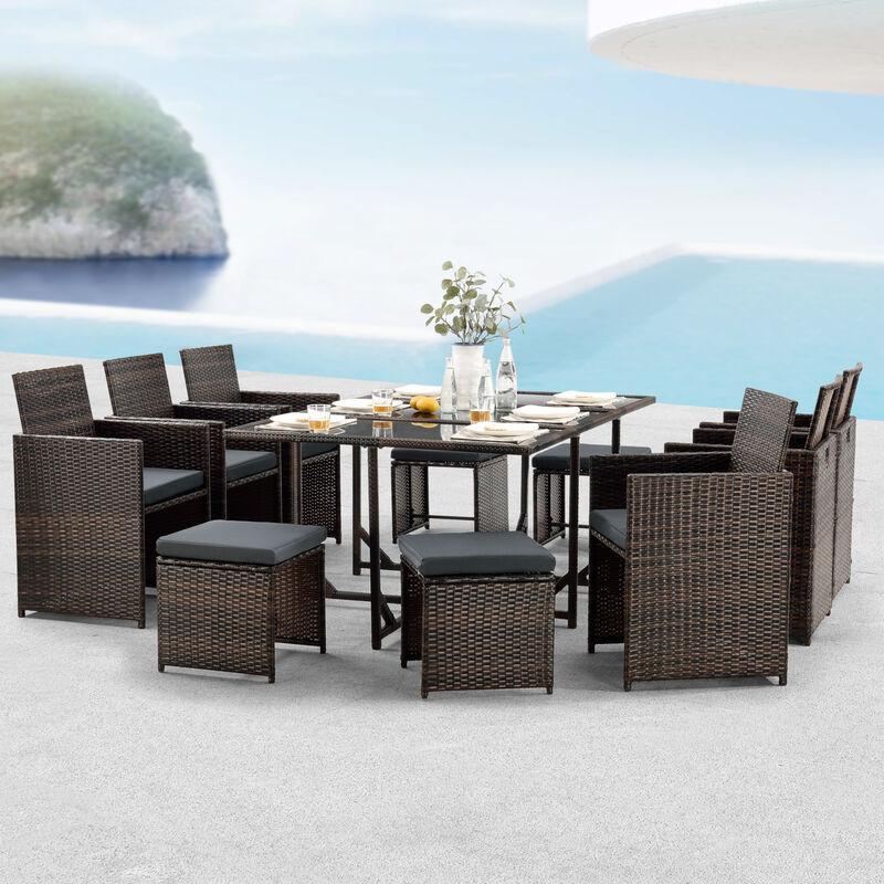 [en.casa] - Salon de Jardin Design 10 Places Ensemble Table 6 Fauteuils 4 Tabourets Set de Meubles Extérieurs Acier Polyrotin Polyester Marron Chiné