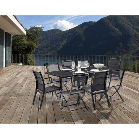 Salon de jardin design 8 personnes Modulo Noir - 600008