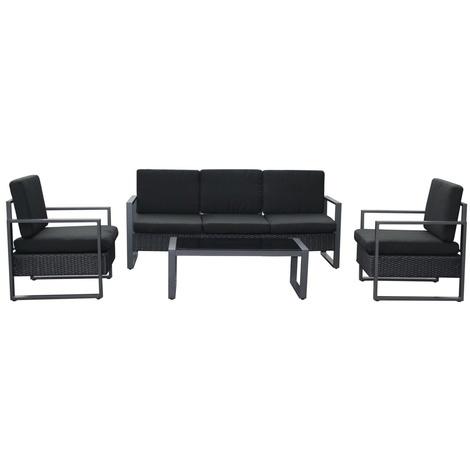 Salon de jardin résine noire coussins noirs 5 places canapé+fauteuil ...